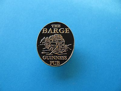 """"""" THE BARGE """" Guinness Pub Pin Badge, Canal. Black on Gold Coloured Metal."""