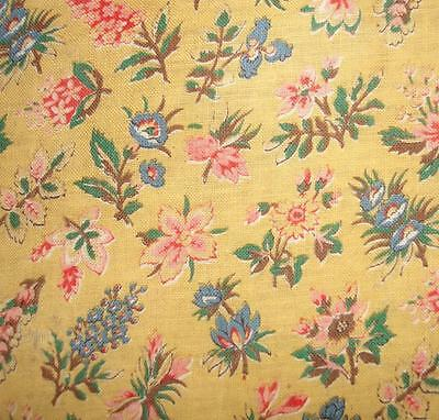 EXQUISITE FRAGMENT ANTIQUE FRENCH 1930s FLORAL COTTON, SMALL DESIGN, DOLLS