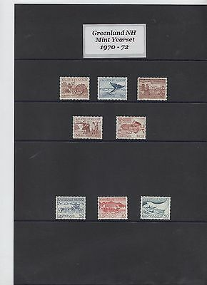 Greenland 1970-72 yearset of all 8 stamps NH Mint, very fine. free shipping