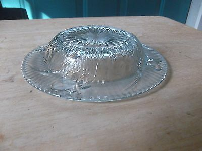 Jeannette Depression Glass Clear Iris and Herringbone Round Butter Dish Base