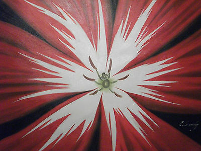 black red white flower large oil painting canvas abstract contemporary original
