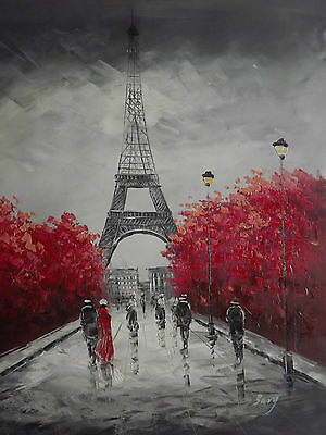 Paris Black White Red Large Oil Painting French Contemporary Original Canvas