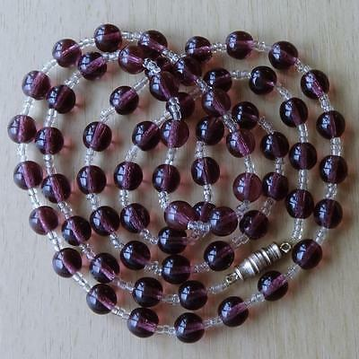"""Vintage 29"""" Long Amethyst Glass Bead Necklace"""