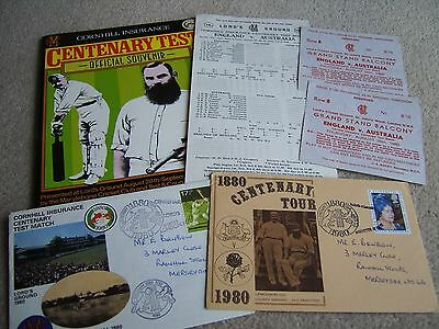 1980 Centenary Test Match collection, Brochure, Tickets, Postal Covers etc