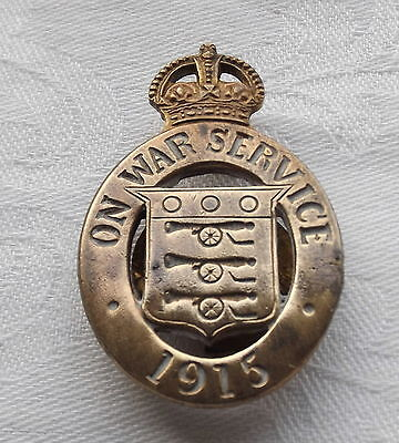 WWI - 1915 HOME FRONT-ON WAR SERVICE BADGE - SERIALLY NUMBERED by MAPPIN & WEBB