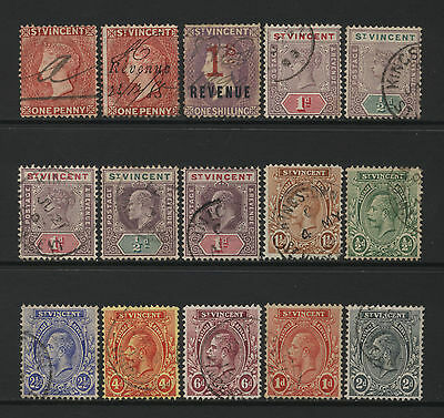 St Vincent Collection 15 QV - KGV Values (Unsorted wmks / Perfs) Used