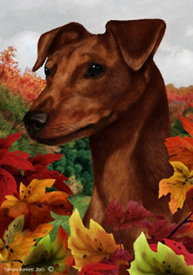Large Indoor/Outdoor Fall Flag - Uncropped Red Miniature Pinscher 13151