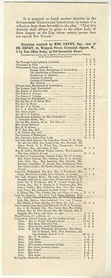 Governesses' Benevolent Institution, List of donations, 19thC