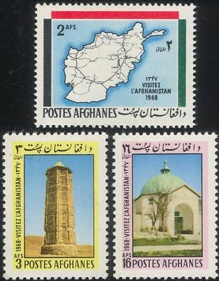Afghanistan 1968 Tourism/Map/Tower/Buildings/Architecture/Heritage 3v set n29366