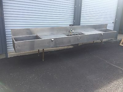 HD COMMERCIAL SS UNDER COUNTER (3) COMPARTMENT BAR SINK w/BUILT IN ICE WELLS