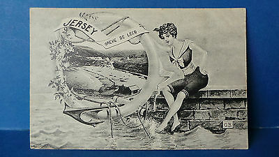 Jersey Channel Islands Postcard Greve de Lecq Lady with Life Ring G Barre c1905