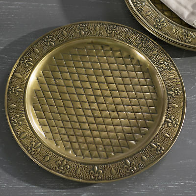 "Old Dutch International Antique Brass 13"" Charger Plate Set of 6"