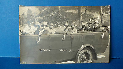 Jersey Channel Islands Postcard Real Photo Tour on an Open Car or Bus 1929