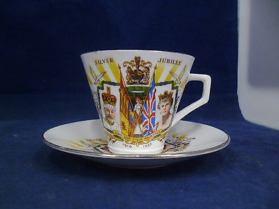 Vintage Delphine China King George V & Queen Mary 1935 Silver Jubilee Cup and Sa