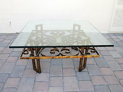Vintage French Gilt Scrolled Iron Coffee Table with Thick Glass