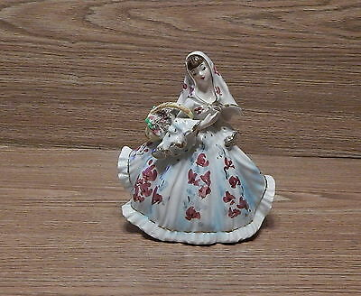 """Vintage Lefton #418 Lady In Flowing Dress With Basket Of Flowers Figurine 6 1/2"""""""