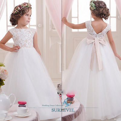 White Tulle Flower Girl Dresses Princess Pageant Party Birthday Wedding Dresses
