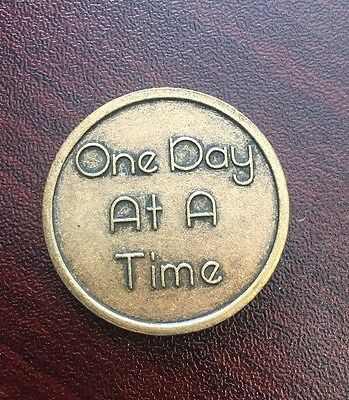 One Day at a Time Alcoholics Anonymous AA Medallion Coin Token Chip Sobriety