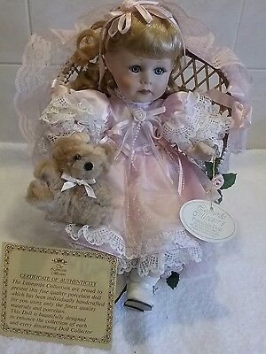 Collectors Porcelain Doll In Chair With Teddy