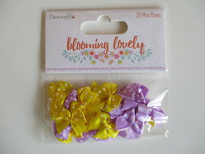 Dovecraft Blooming Lovely 20  Mini Ribbon Bows satin polka dot yellow purple