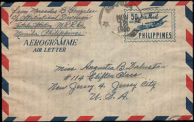 Philippines #7 Used air letter/aerogramme, Manila to Jersey City NJ, 1956