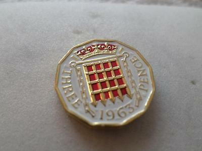 Vintage Hand Painted Threepence Coin 1963. Lucky Charm. Great Birthday Present