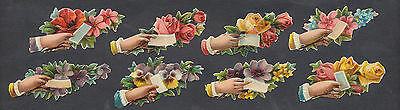 S1302 Victorian Die Cut Scraps: 8 Small Hands With Flowers