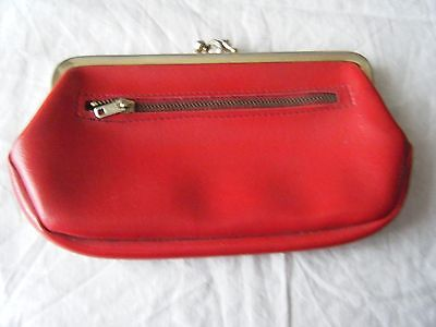 Vintage Ladies Red Faux Leather Purse