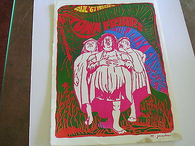 Rare THE TOWN FRIARS  Psychedelic BLACK LIGHT Concert Poster by M. Jasolis