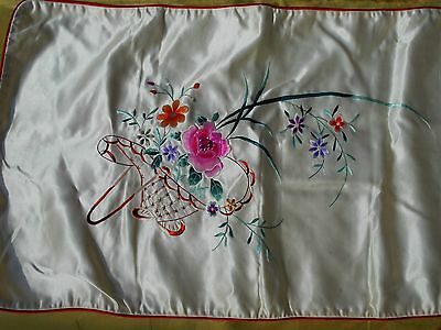 Vintage pair unused 1930's-40's Chinese Silk Embroidered Pillowcase cover sham