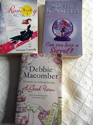 3 x paperbacks by Sophie Kinsella, Debbie Macomber, Victoria Connelly