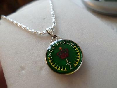 Vintage Enamelled Half Penny Coin 1971 Pendant & Necklace. Great Birthday Gifts