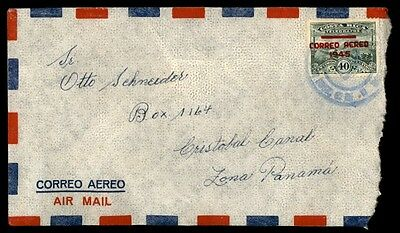 Costa Rica airmail single franked cover to Panama Canal