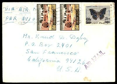 Lebanon colorful butterfly franking airmail to San Francisco California