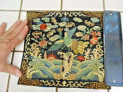 Antique Chinese Qing Dynasty Embroidered Silk Rank Badge W/ Phoenix Bird & Bats