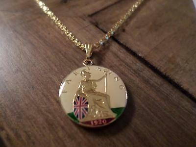 Vintage Enamelled Farthing Coin 1920 Pendant & Gold Plated Necklace. Great Gift
