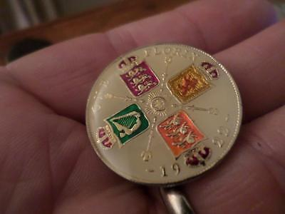 Vintage Enamelled Florin Coin 1922. Birthday Present. Christmas Xmas Gift