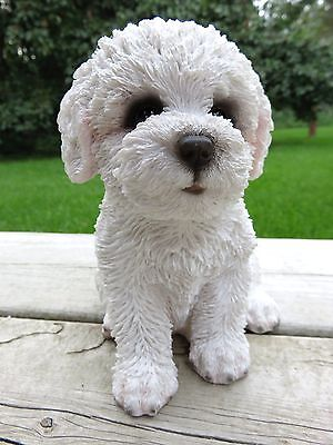 "Bichon Frise Puppy Dog Figurine Sitting Statue Resin Pet 6"" H Canine Ornament Ne"