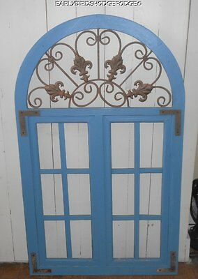 Antique Vintage Wood Arched Window Frame Fleur De Lis Iron Insert Outdoor Design