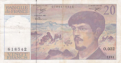 20 Francs Fine Banknote From 1991 France!pick-151