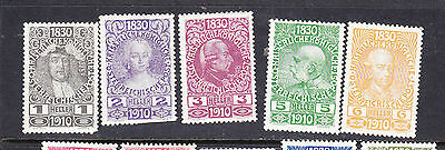 Austria postage stamps - 1910 5 x UNUSED L Hinged 1H-6H - collection odds