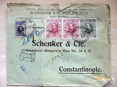 Bulgaria postage stamps - 1912ish 4 stamps on cover - reverse clear