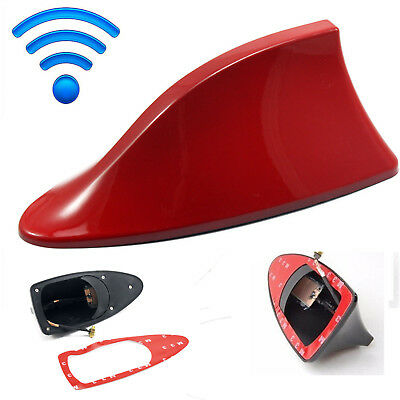 Universal Auto Car Roof Radio AM/FM Signal Line Shark Fin Aerial Antenna Red