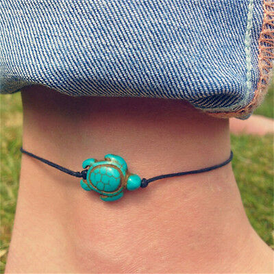 Women Boho Turquoise Turtle Ankle Chain Anklet Bracelet Foot Chain Beach Jewelry