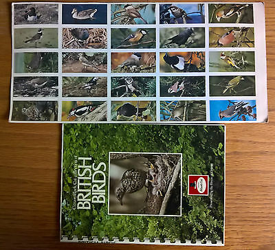 Cigarette cards: Carreras British Birds uncut sheet plus full set c/m in album