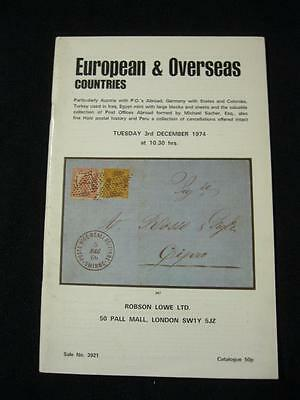 ROBSON LOWE CATALOGUE 1974 EUROPE OVERSEAS with AUSTRIA POs TURKEY IN IRAQ ETC
