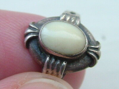 Silver Opaque Stone Ring