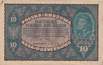 10 Marek  Very Fine Banknote From Poland 1919!pick-25