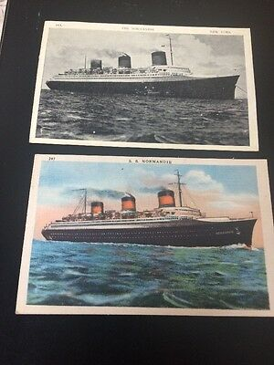 SS NORMANDIE Postcards One Black-And-White The Other Full Color!