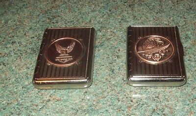 2 White Metal Tobacco Boxes, Never Used.both Have Applied Copper Coloured Badges